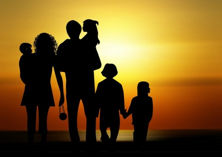 Children Silhouette Family Sunset